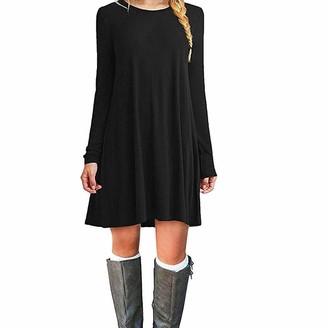 ZHANGNA Women Autumn Dress Ladies Casual Dress T-Shirt Dress Elegant Solid Color Loose Maxi Dress (M
