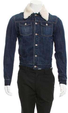 Christian Dior Shearling-Trimmed Denim Jacket