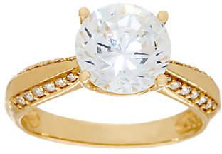 Diamonique 3.00ct Solitaire Ring, 14K Gold