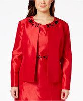 Kasper Plus Size Embellished Shantung Open-Front Jacket
