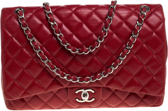 Chanel Red Quilted Caviar Leather Maxi Classic Double Flap Bag