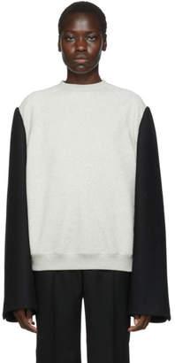 Maison Margiela Grey and Black Wool Mens Sweatshirt