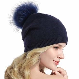 BUKINIE Women Ladies Winter Cashmere Hairball Skull Hat Knitted Warm Pom Pom Hats Skating Beanie Bobble Cap (Navy Free Size)