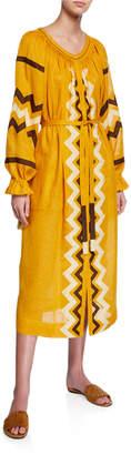 Vita Kin Zigzag Linen Long-Sleeve Belted Midi Dress