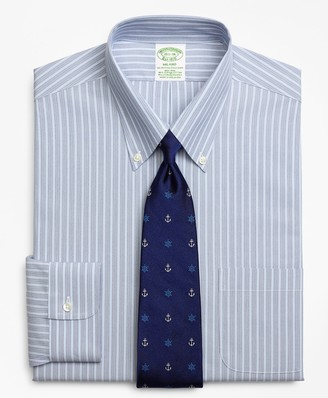 Brooks Brothers Stretch Milano Slim-Fit Dress Shirt, Non-Iron Mini BB#1 Alternating Stripe