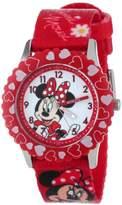 Disney Kids' W001024 Minnie Stainless Steel Printed Bezel Printed Strap Watch
