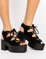 Pull&Bear Lace Up Wedge Sandals