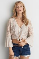 American Eagle Outfitters AE Lace Tie Front Crop Top