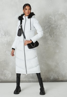 Missguided White Chevron Quilted Maxi Padded Coat