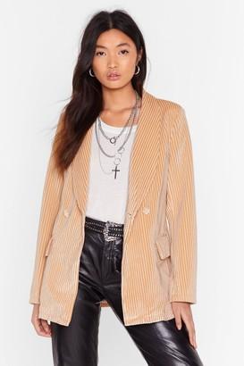 BEIGE Nasty GalNasty Gal Womens Nasty Says Relax Velvet Striped Blazer 4,