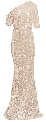 Badgley Mischka Asymmetric Draped Sequin Mermaid Gown