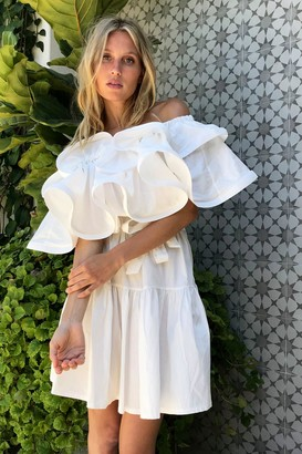 Nasty Gal Womens To the Extreme Ruffle Off-the-Shoulder Dress - White