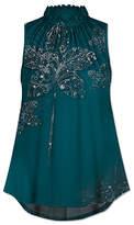 Udear UDEAR Women's Blouses Print - Green Ornate Floral High-Neck Sleeveless Top - Women & Plus