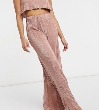 ASOS DESIGN petite wide leg beach co-ord trouser in pink plisse