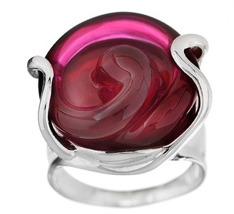 Kalos by Hagit Sterling Pink Floral Glass Ring