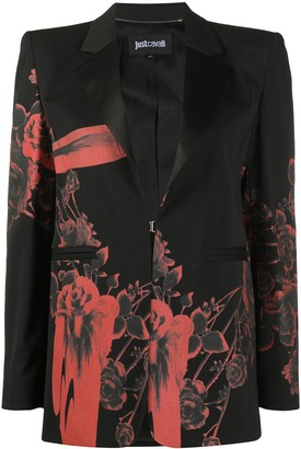 Just Cavalli Floral-Print Single Breasted Blazer