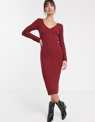 Asos Design DESIGN button detail rib midi dress with v neck-Red