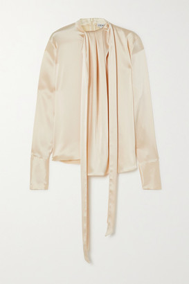 Loewe Lavalliere Tie-detailed Hammered-satin Blouse - Ivory