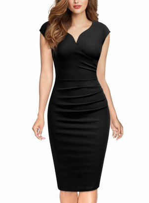 MIUSOL Womens Vintage V-Neck Ruched Work Business Party Bodycon Pencil Dress