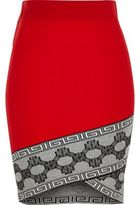 River Island Womens Red contrast trim wrap pencil skirt