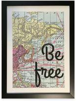 "Graham & Brown Inspirational ""Be Free"" Map Framed Wall Art"