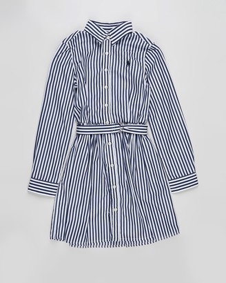 Polo Ralph Lauren Girl's Navy Long Sleeve Dresses - Long Sleeve Stripe Bengal Dress - Teens - Size 10 YRS at The Iconic