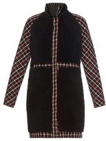 Moncler Gamme Rouge Shearling and checked-wool coat