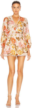 Zimmermann Bonita Button Through Playsuit in Cream Floral | FWRD