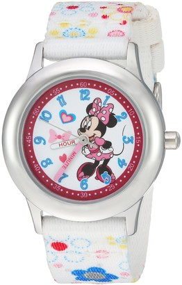 Disney Girls Minnie Mouse Stainless Steel Analog-Quartz Watch with Nylon Strap