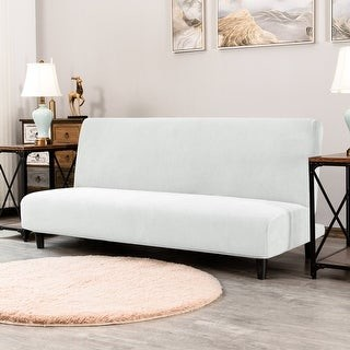 Overstock Subrtex Stretch Armless Sofa Cover Washable Sofa Bed Slipcover