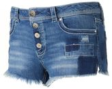 Almost Famous Juniors' Exposed Button Patch Shortie Jean Shorts