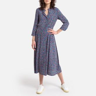 See U Soon Printed Midi Shirt Dress with Grandad Collar and Long Sleeves