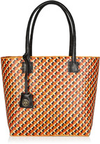 Woven straw and leather tote