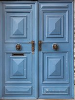 Gifts Delight LAMINATED 24x32 Poster: Doors Painted Wood Blue Knockers Mail Rustic Old Entrance Exit Building Architecture Doorway Wooden Closed Structure Entry Opening