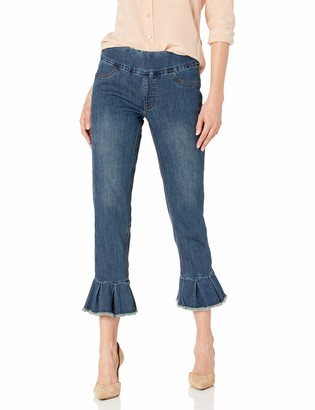 Slim Sation SLIM-SATION Women's Crop Jean with Pleat Flounce@ Leg Hem