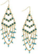 BCBGeneration Gold-Tone Blue and Green Beaded Chain Drop Earrings