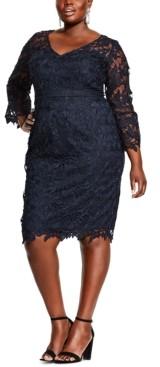 City Chic Plus Size Lace Sheath Dress