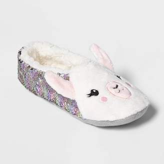 Women's Llama Flip Sequins Pull On Slipper Socks - White