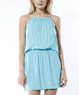 Aqua Blouson Dress