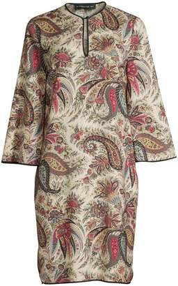 Etro Paisley Print Wool & Silk Tunic Dress