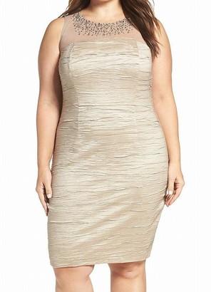 Eliza J Women's Plus Size Sleeveless Beaded Illusion Bodice Sheath Dress