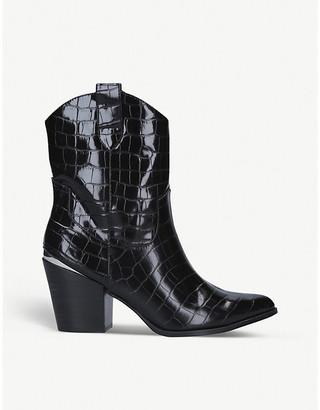 Kg Kurt Geiger Tizzy black-croc print leather ankle boots