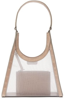 STAUD Rey Mesh And Croc Effect-leather Shoulder Bag - Grey