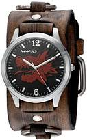 Nemesis 'Dragon Head' Quartz Stainless Steel and Leather Watch, Color:Brown (Model: KDFRB903R)