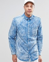 Weekday Average Acid Wash Shirt Blue