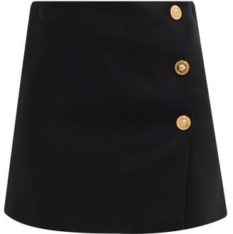 Versace A-line Medusa-button Crepe Mini Skirt - Black