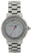 Betsey Johnson Ladies Silvertone Crystallized Watch