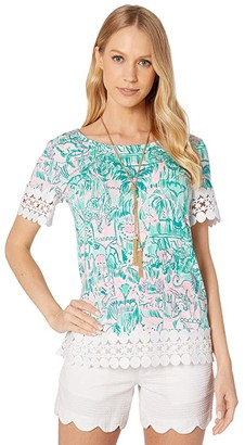 Lilly Pulitzer Hayes Top (Bright Agate Green Colorful Camelflage) Women's Clothing