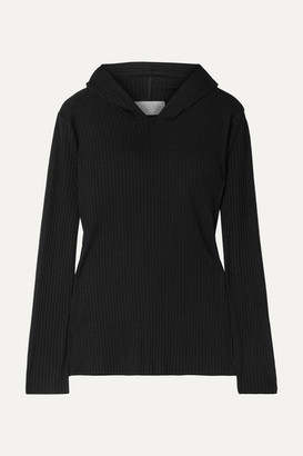 CALÉ Angelique Ribbed Stretch-jersey Hoodie - Black