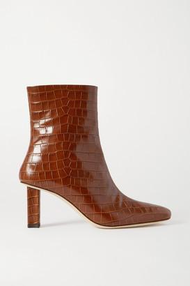 STAUD Brando Croc-effect Leather Ankle Boots - Tan